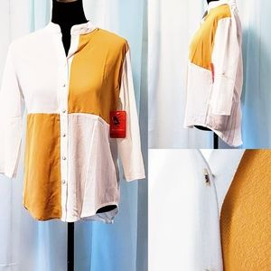 New Color Block Button down top White/Yellow☀💞